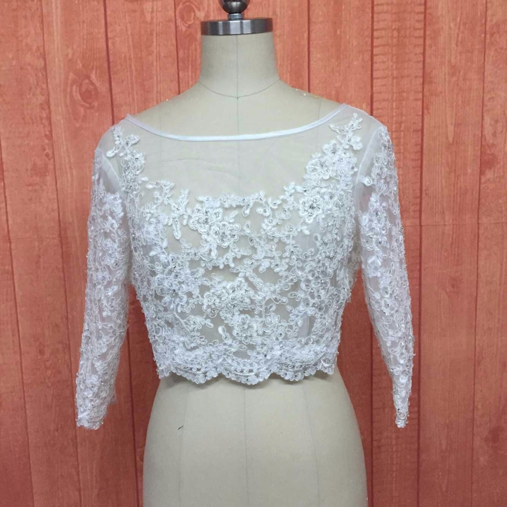 Custom Made 2017 Beading Appliques Long 3/4 Sleeve Lace