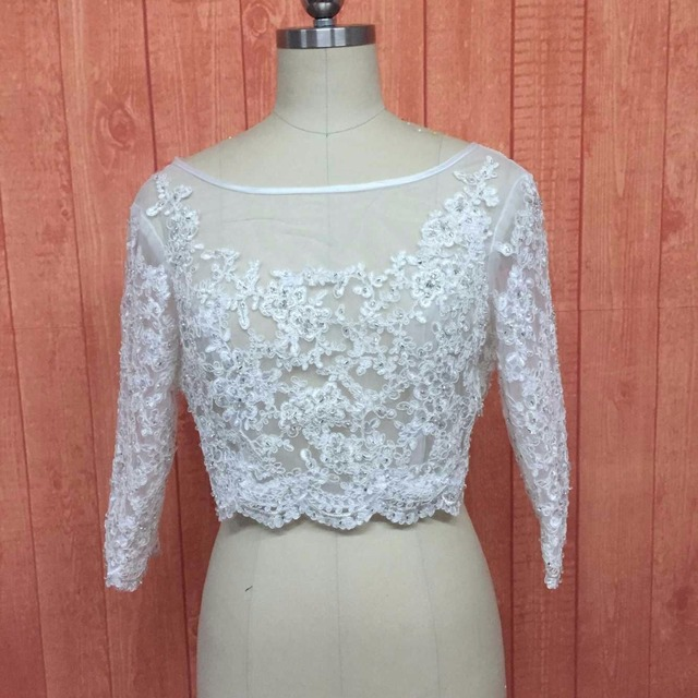Custom made 2017 Beading Appliques Long 3/4 Sleeve Lace Bridal Bolero Jacket Elegant Tulle Wedding Jackets