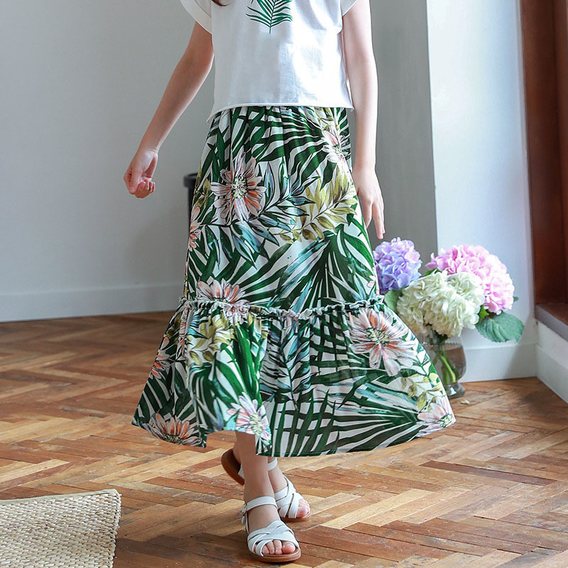 2018 summer children long chiffon skirts for girls 7 years 10 12 14 8 9 floral big kids high waist skirt baby girl clothing women fashion dress casual solid color chiffon high waist double chiffon short skirt puff pleated big swing half skirt l05