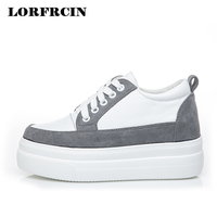 LORFRCIN Women Platform Shoes Genuine Leather Women Sneakers Lace up Autumn Shoes Woman Height Increasing Ladies Shoes