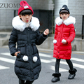 Girls winter Hooded Jacket Big Girl warm long cotton-padded jacket Children's winter clothing Outerwear Kids Coats Clothes YL306