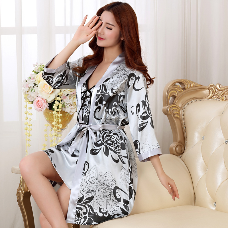 Sexy Lady Long 2 PCS Robe Set Satin Rayon Bathrobe Women Kimono Geisha Sleepwear Print Floral Nightwear Bridesmaid Brides Robes