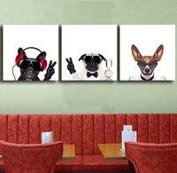 Triptych Tuval Sanat Güzel Hayvan Köpekler Baskılar Kreş Çocuk Bebek yatak odası Dekor Animasyonlu Duvar Resimleri Boyama Deco 3 Panel Hiçbir çerçeve