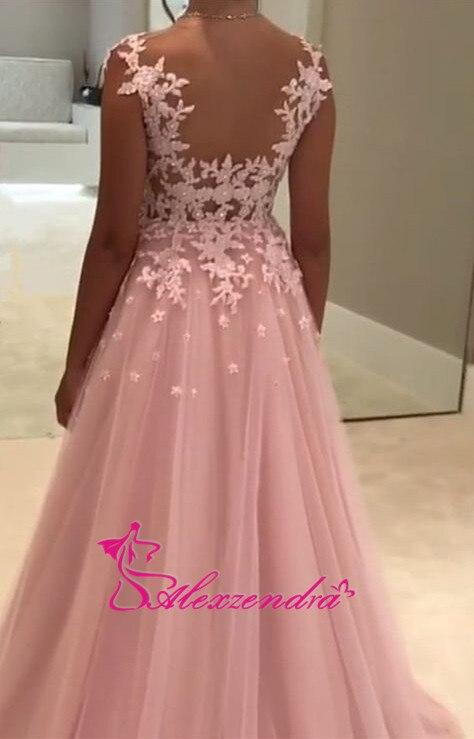 Alexzendra rose Tulle robes de bal encolure dégagée Illusion retour soirée robes de grande taille robe de soirée femmes - 3