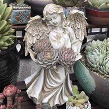 Europe resin creative vintage angel flowers vase statue home decor goddess crafts room decoration garden pot girls figurine