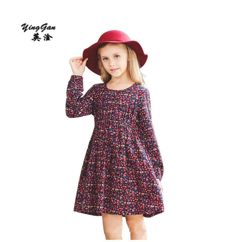 Warm Floral Printed Dress for Grils Thickening Plus Velvet Children Girl Winter Dress Long Sleeve Kids Clothing Cute Girl Dress