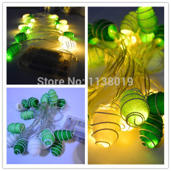 20pcs/sets Cocoon LED String Fairy Lights Green & White Mix Christmas wedding home party 2.5m