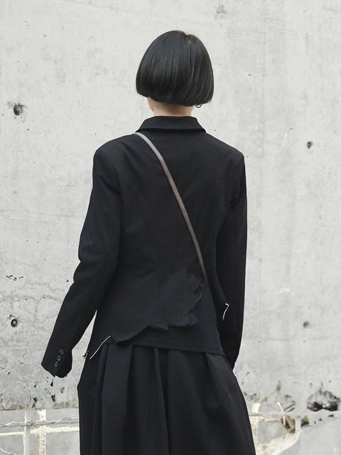 Cakucool New Japanese Style Women Smart Jakets Single Breasted Slim Suit Jacket Outwear OL Black Asymmetric Novelty Coat Femme