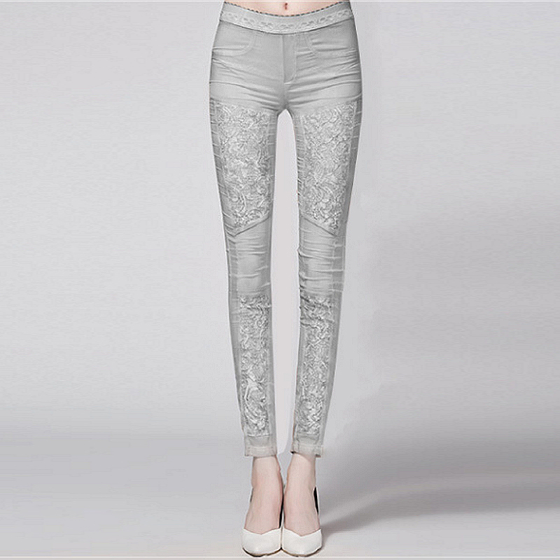 95 Silk Pencil Pants Women Elastic Waist Patchwork Lace Pockets 2 Colors Skinny Trousers Fashion Europe