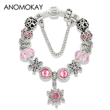 ANOMOKAY 2017 New Arrival Blue Snowflake Crystal Charms Bracelet Unique Silver Bead for Women Child Girlfriend Gift