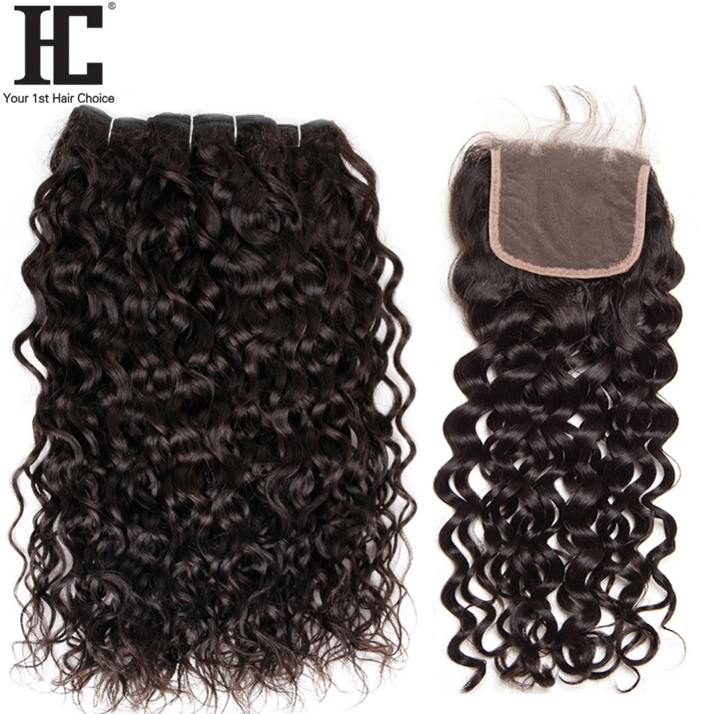 HC Indian Water Wave Bundles With Lace Closure 100% Human Hair Weave 3 Bundles With Closure Free Middle Three Part Non Remy Hair