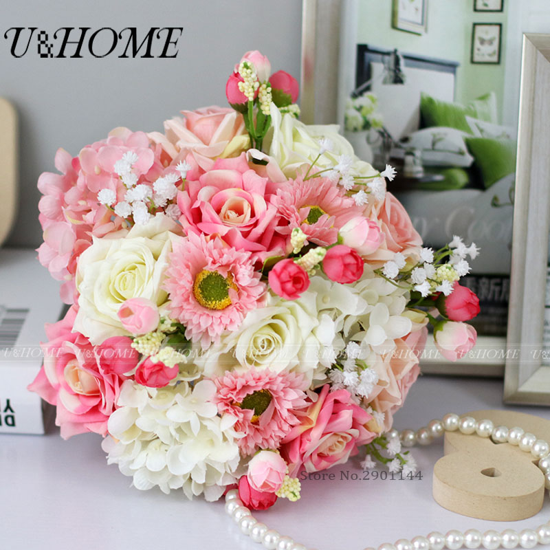 U&Home Artificial DIY <font><b>flowers</b></font> bride bouquet silk rose bud plastic babysbreath plant pink daisy for home wedding decoration bulk