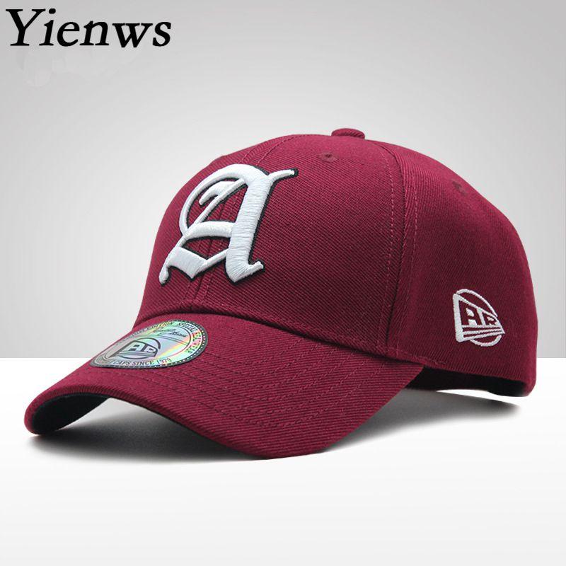 Yienws Bones Baseball Caps Woman Man Summer Leisure Embroidery Curved Cap Men Youth Full Cap Hat Baseball Black Burgundy YIC606