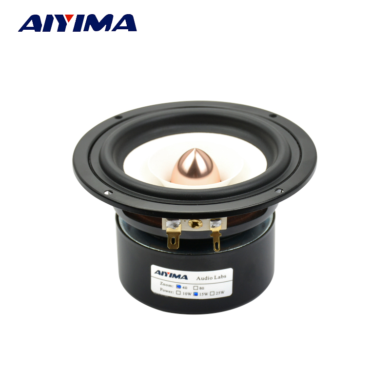 Aiyima 1pc 4 Inch 4Ohm 15W Audio Speakers Full Range Loudspeaker Bullet Speaker Professional Fever Hifi Speakers цена