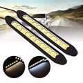 1Pair Flexible COB LED White DRL Daytime Running Driving Lights & Yellow Turn Signals Car Styling