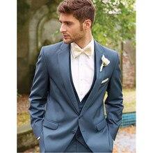 Nuevo encargo azul hecho a mano 3 unidades hombres Slim fits Trajes Tuxedo boda  Trajes novio Trajes fiesta formal Trajes 428fc394c21