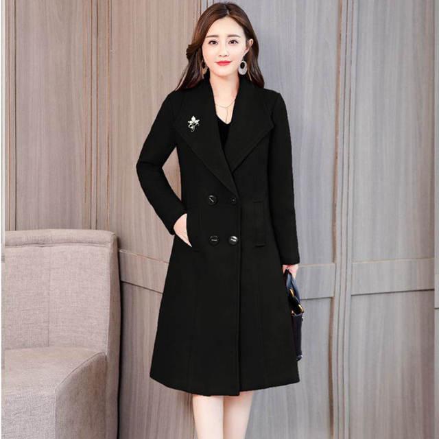 Plus Size 4XL Vintage Winter Coat Women Double-Breasted Elegant Long Wool Coat Abrigo Mujer Autumn Woolen Coat Warm Parka C4892 1