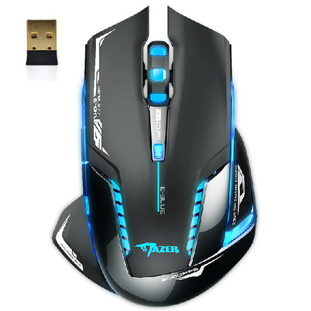 Professional Mouse Inalambrico USB E-3lue 6D Mazer II 2500 DPI Blue LED 2.4GHz Wireless Optical Gaming Game Mouse e 3lue 6d mazer ii 2500 dpi blue led 2 4ghz wireless optical gaming game mouse 02