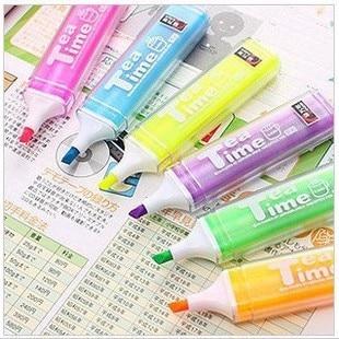 Stationery romantic afternoon tea time multicolour scrub neon pen marker pen paragraph