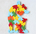 New wooden toy Animal Finger Giraffe 26 piece English letters and digital cognitive Wooden Jigsaw Puzzle Free shipping