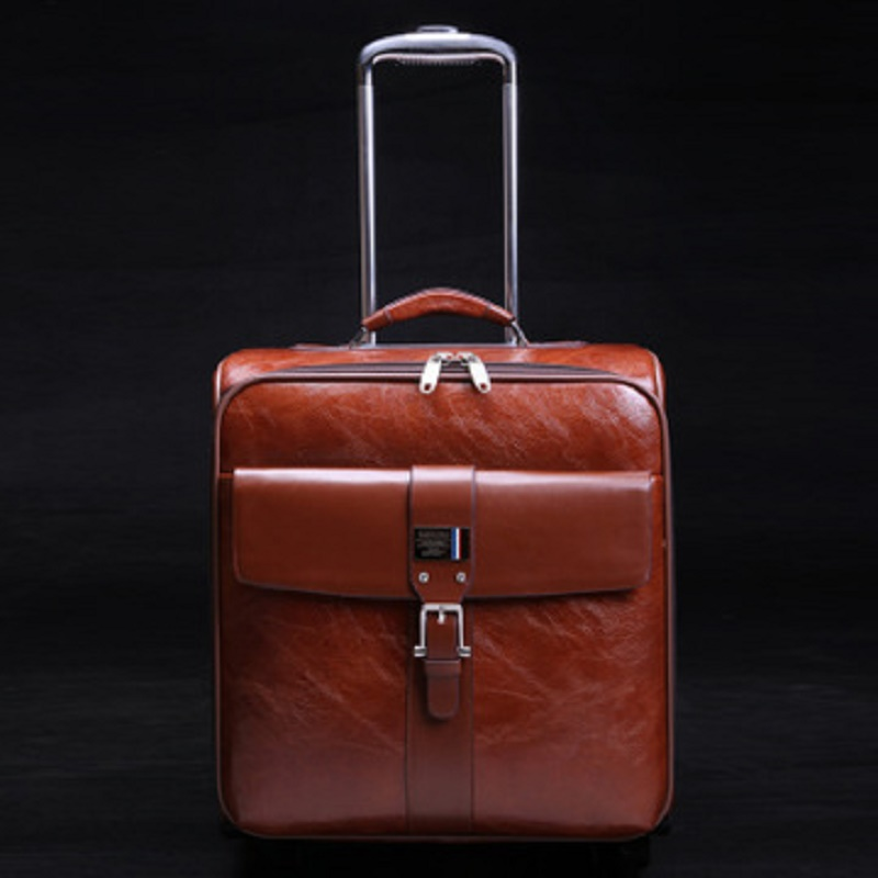Simulation leather Senior business16 20 22 24 inch boarding High quality Rolling Luggage Spinner brand Travel