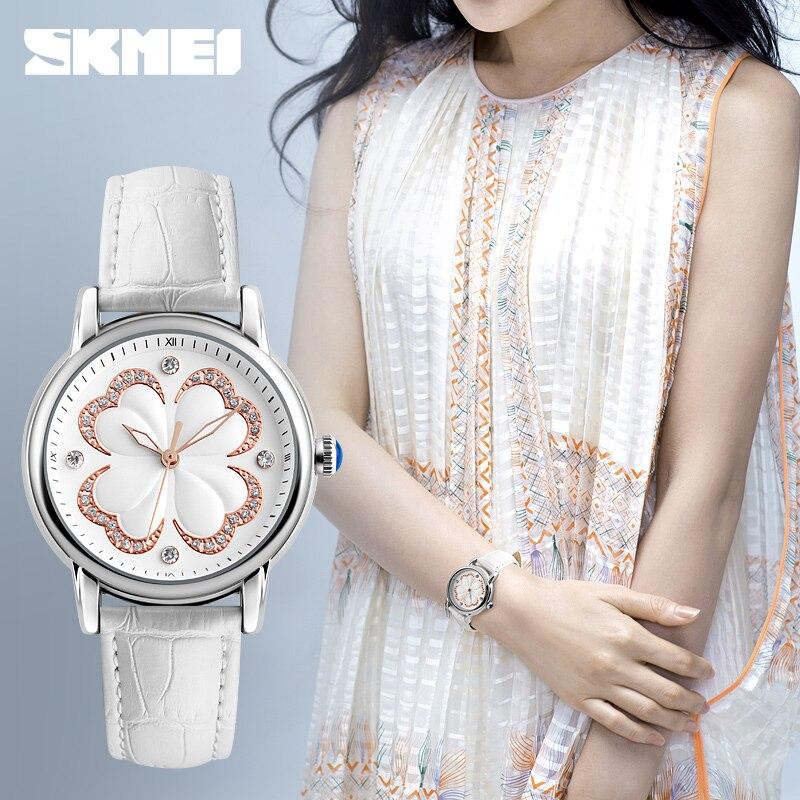 SKMEI Quartz Watch Women Watches Luxury Brand Fashion Women Wristwatch Dive 30m Waterproof Leather Strap Relogio Feminino 2017