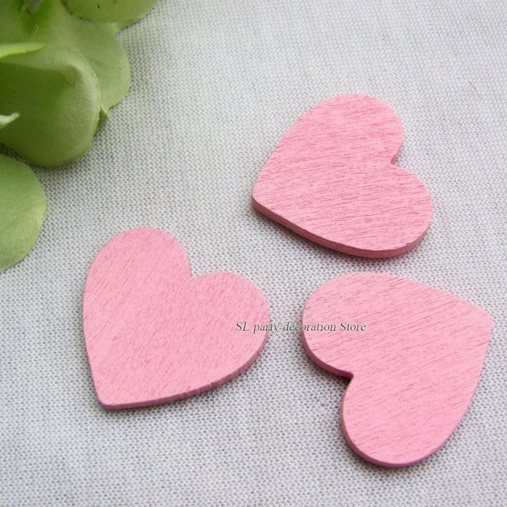 50pcs White Pink Gold Wooden Love Heart Wedding Favor Wedding Table ...