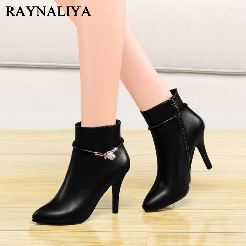 2017 Autumn Winter Women Boots Thin High Heels Shoes Woman Pointed Toe Ankle Boots Black Motorcycle Boots Shoes YG-A0029 2017 solid black winter spring women shoes slip on pointed toe spike high heels ankle boots women free ship size 9 12