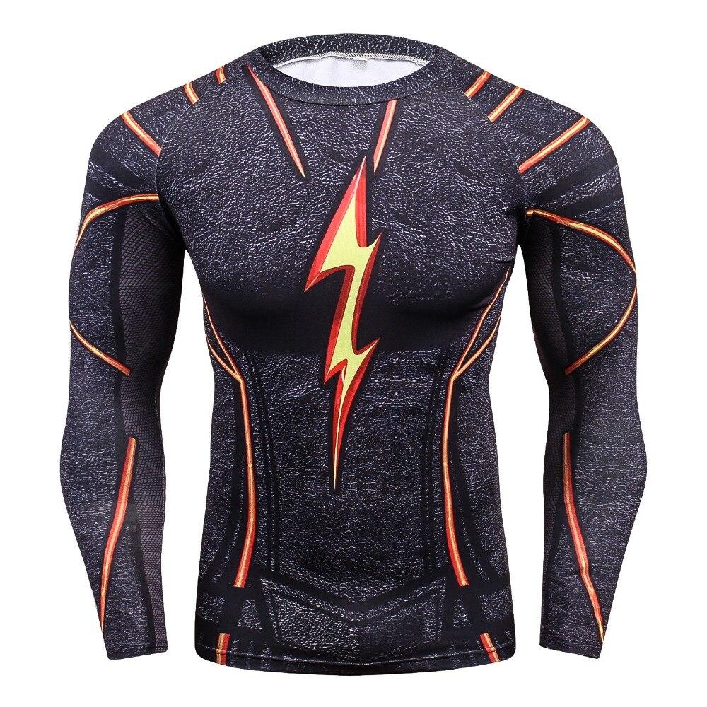 Compression Male Tight Fashion Shirt Flash 3D Printed T-shirts Men Raglan Long Sleeve Superhero Compression Shirt Fitness Tops