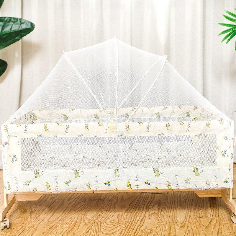 Simple lit en bois massif berceau bébé berceau Portable lit pour enfants moustiquaires avec moustiquaire rouleau 0-2month - 3
