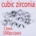 1.5MM White Cubic Zirconia Stone AAA Grade CZ  Round Zircon Pedra de Zirconia DIY Beads Supplies for jewelry wholesale
