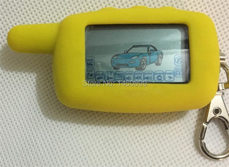 A6 2-way LCD Touche De La Télécommande Fob Chaîne Porte-clés + Tamarack Silicone Cas Pour Russe à Deux Voies Système D'alarme De Voiture Starline A6