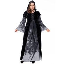 74df4753b5c 2018 Halloween new skeleton print witch long vampire suit large size queen  costume black long sleeve Plus size XXXL