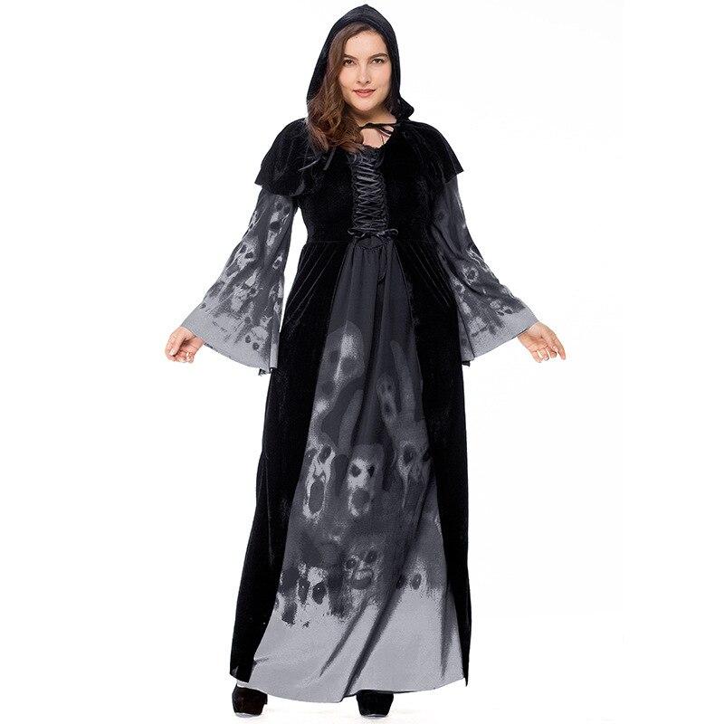 2018 Halloween nuovo scheletro di stampa strega long vampire vestito di grandi dimensioni della regina costume nero a manica lunga Più Il formato XXXL