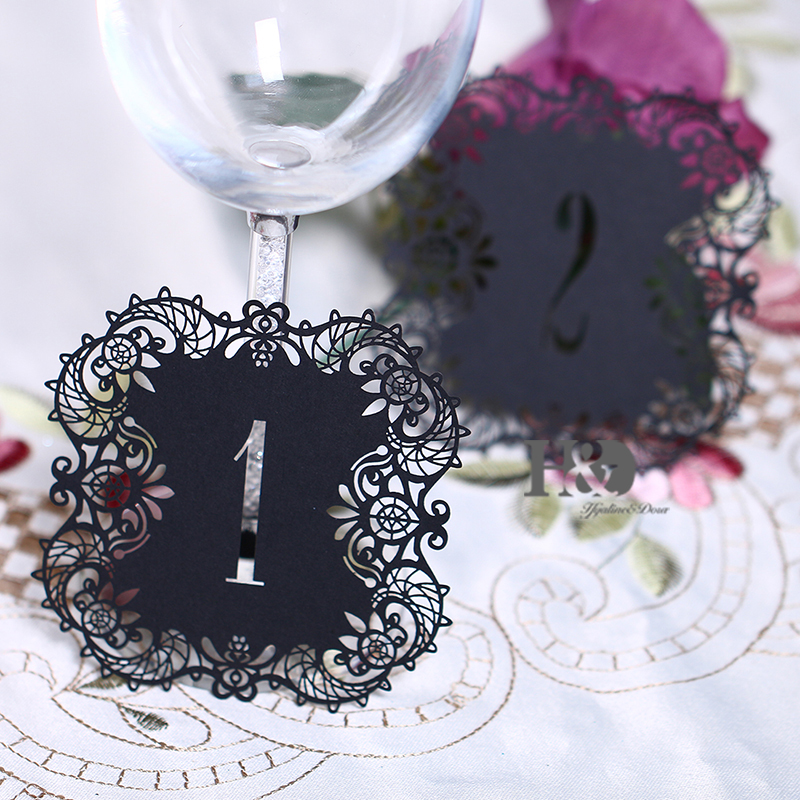 10pcsset Black Hollow Lace Table Number Table Cards From 1 To 10