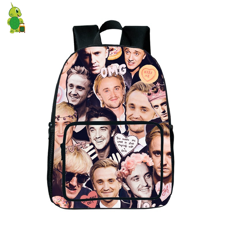 Harry Potter Tom Felton Overlay Backpack Children School Backpack For Teenagers Girls Boys Fashion Laptop Bags Travel Daypacks