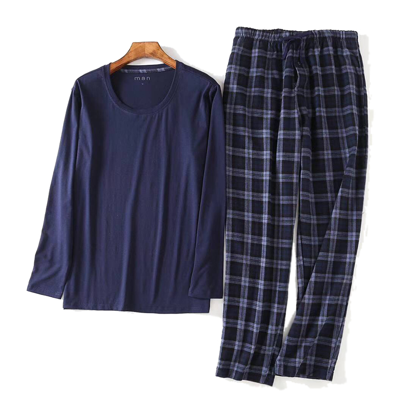 Winter Long Sleeve Men Pajamas Sets Simple Nightwear Plaid Trousers Casual Sleepwear Pijamas Hombres Men Pyjamas Big Plus Size
