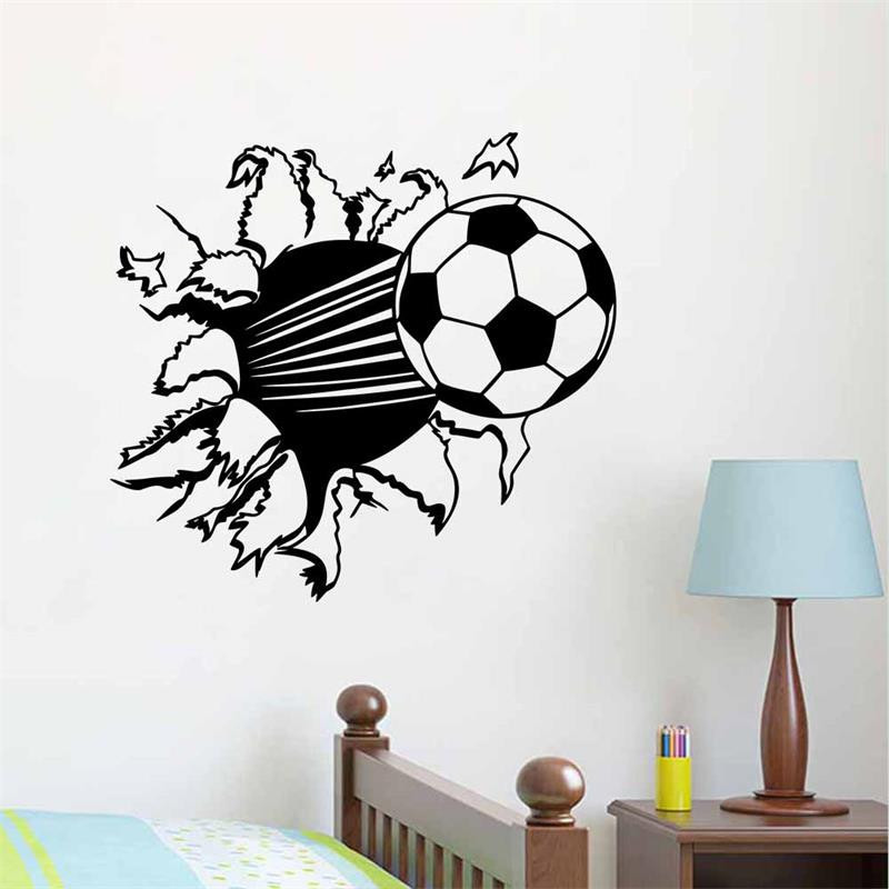 papeles de pared creativo de ftbol d romper la pared pegatinas decoracin