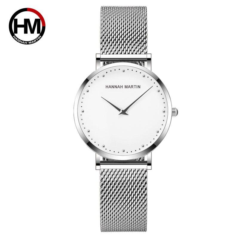Hannah Martin Quartz Wrist Women Watches Silver Bracelet Ladies Watch Top Brand Luxury Waterproof Watch Women Casual Relogio
