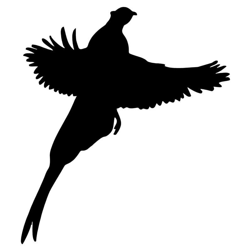 12.6*14.3CM Pheasant Creative Car Styling Stickers Cute Animal Silhouette Vinyl Car Body Decal Black/Silver C9-0989