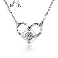 HELON Solid 18K White Gold Genuine Natural SI/H Diamonds Lock Heart Necklace Pendant Engagement Wedding WomenJewelry Three Style