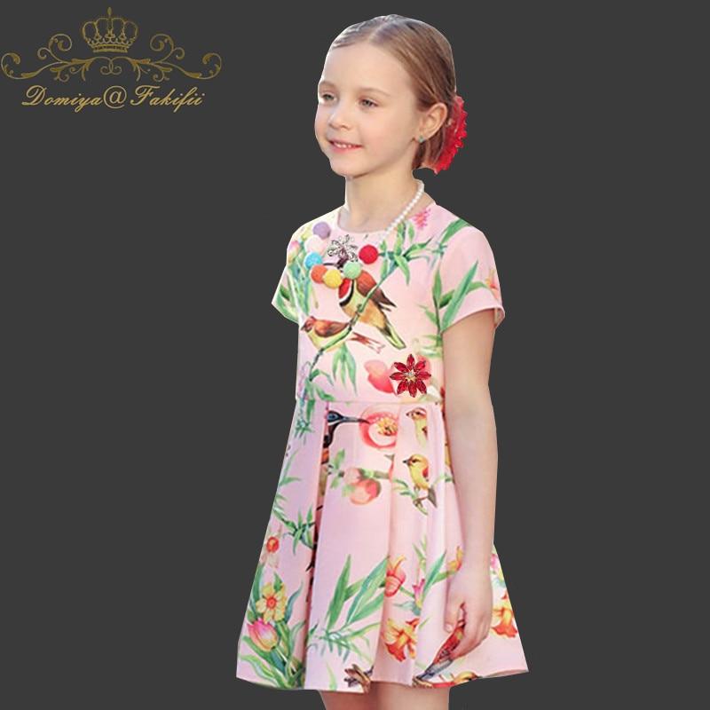 Domiya&Fakifii Girls Dresses 2018 New Brand girls cute dresses Bird Print dress Kids Clothing summer dress lovely girls clothes domiya