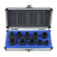 11Pcs/Set Damaged Bolt Nut Screw Remover Extractor Nut Removal Socket Kit With Box Threading Hand Repair Tools