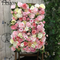 Flower wall background simulation flower wedding props red anchor photo background decoration indoor studio real flower wall