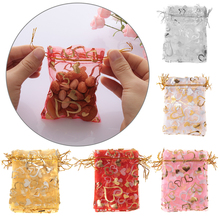 10 Pcs Heart Organza Gift Bag Christmas Halloween Wedding Drawstring poke Jewelry Bright Cute Candy Package Party Decoration