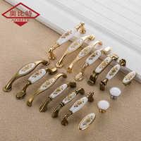 AOBITE European Ceramic Cabinet Handles Wardrobe Handles Cabinet Drawer Pull Knobs Minimalist Small Single Hole Hardware 733