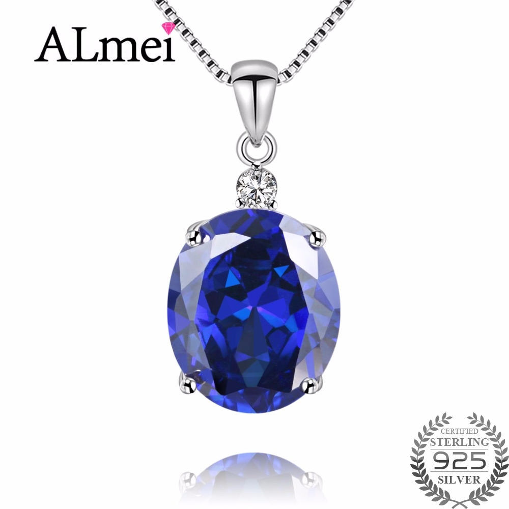 Almei Tanzania Color Topaz Genuine Dark Blue Simple Pendant Solid 925 Sterling Silver Brand Fine Jewelry