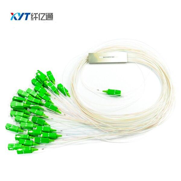 Mini diviseur optique de tube en acier 1*32 diviseur de PLC longueur de fibre de 1 m tube lâche de 0.9mm avec le connecteur de SC/APC