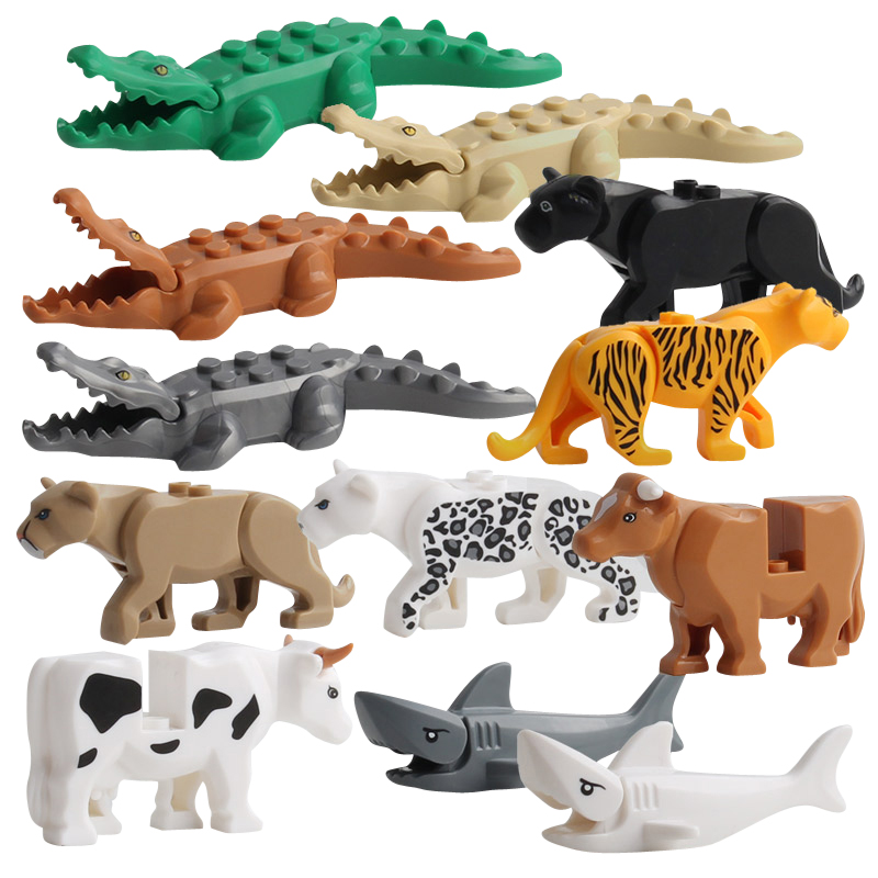 Duplos Animal Model Figures Big Building Block Sets Crocodile Leopard Shark Kids Educational Toys For Children Gift Brinquedos