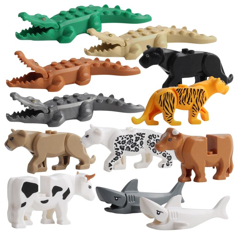 Duplos Animal Model Figures Big Building Block Sets Crocodile Leopard Shark Kids Educational Toys For Children Gift Brinquedos